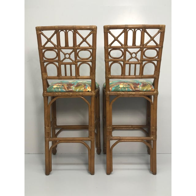 Coastal 1960s Rattan Bar Stools With Carved Pineapple Feet - a Pair For Sale - Image 3 of 9