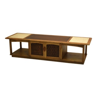 Large Walnut and Ash Media Console or Cocktail Table with Travertine For Sale