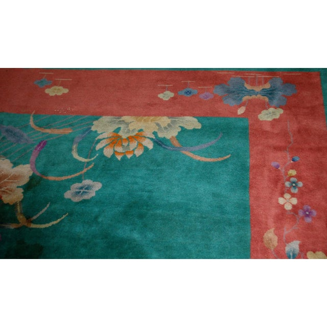 1920s Hand Made Antique Art Deco Chinese Rug - 8′10″ × 11′7″ For Sale - Image 7 of 9
