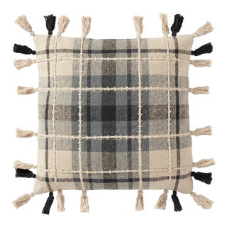 "Loloi Traditional Plaid Pillow with Tassels, Grey / Multi - 18"" x 18"" Cover with Poly Pillow For Sale"