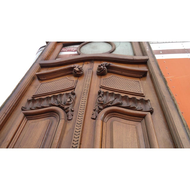 Art Nouveau Antique Parquetry Doors with Transom Window For Sale - Image 3 of 12
