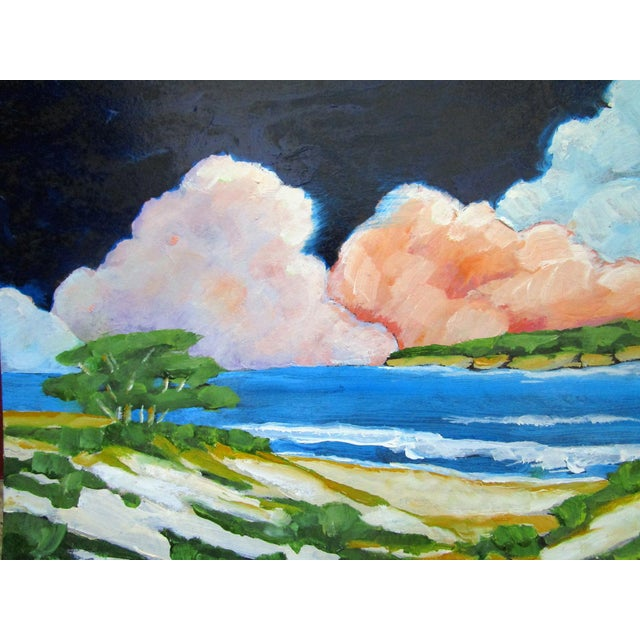 Contemporary Carmel California Monterey Bay Clouds Landscape Oil Painting Lynne French Art For Sale - Image 3 of 7