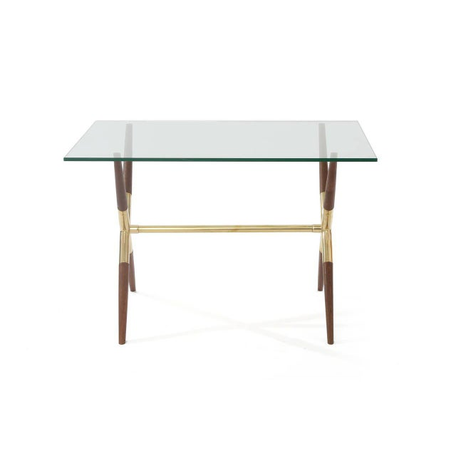 Mid-Century Modern Tapered Walnut and Polished Brass Italian Occasional Table For Sale - Image 3 of 7