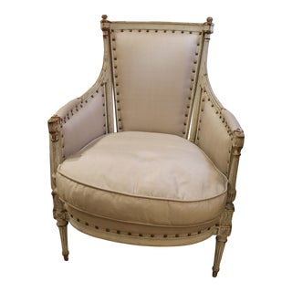 Louis XVI Style Armchair in Silk Upholstery For Sale