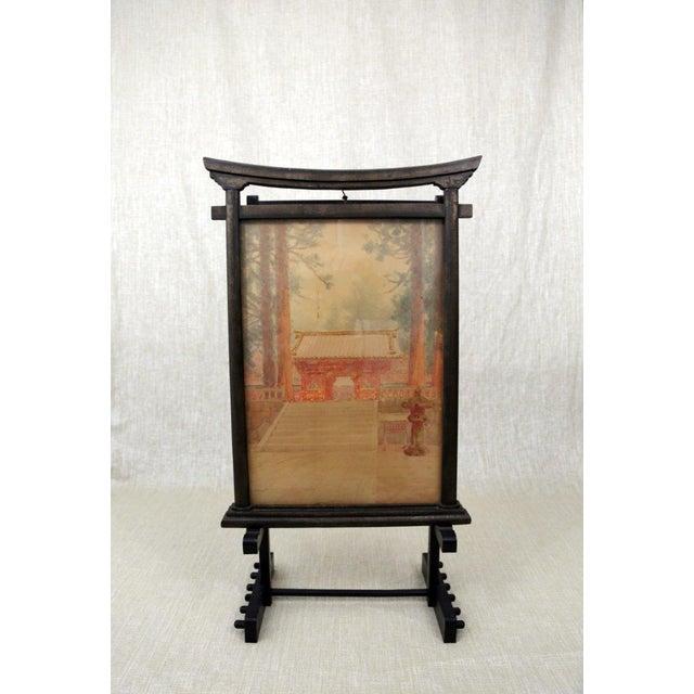 Antique M. Kano Watercolor Painting on Pagoda Stand - Image 9 of 9