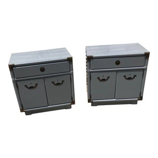 1970s Drexel Campaign Gray Lacquered Nightstands - a Pair For Sale