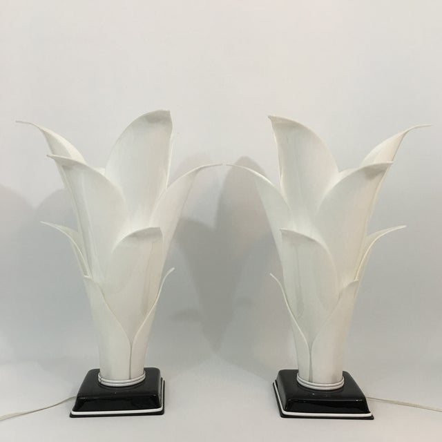Rougier Palm Leaf Lucite Lamps- a Pair For Sale - Image 13 of 13