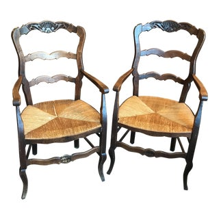 20th Century French Style Wicker/Wooden Dining Chairs - a Pair