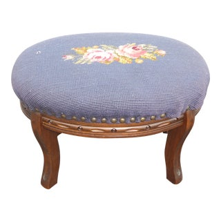 1950s Vintage French Country Purple Tapestry Floral Needlepoint Footstool For Sale