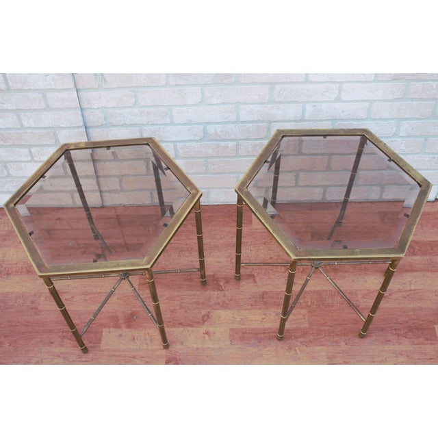 Mastercraft 1970s Mid Century Modern Mastercraft Faux Bamboo Side Tables - A Pair For Sale - Image 4 of 10