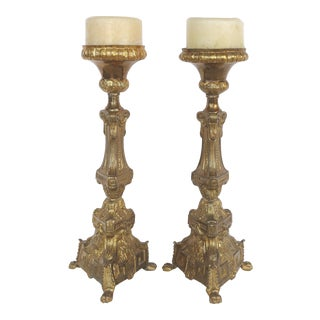 Antique Gilt Metal Ecclesiastical Pricket Candlesticks- a Pair For Sale