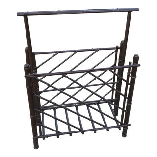 Vintage Metal Faux Bamboo Magazine Rack For Sale