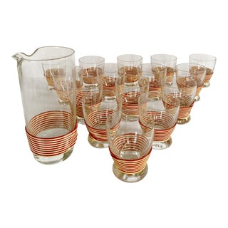 Mid-Century Wrapped Glasses and Pitcher Set - 16 Piece Set For Sale