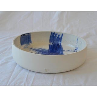 Contemporary Ceramic Utility Bowl With Cobalt Calligraphy Preview