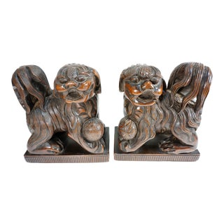 Vintage Hand Carved Wood Foo Dog Statues Bookend on Plinth Base - a Pair For Sale