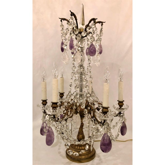 "Pair Antique French Signed Baccarat Crystal and Rock Crystal ""Girondolles"" Candelabra, Circa 1890."