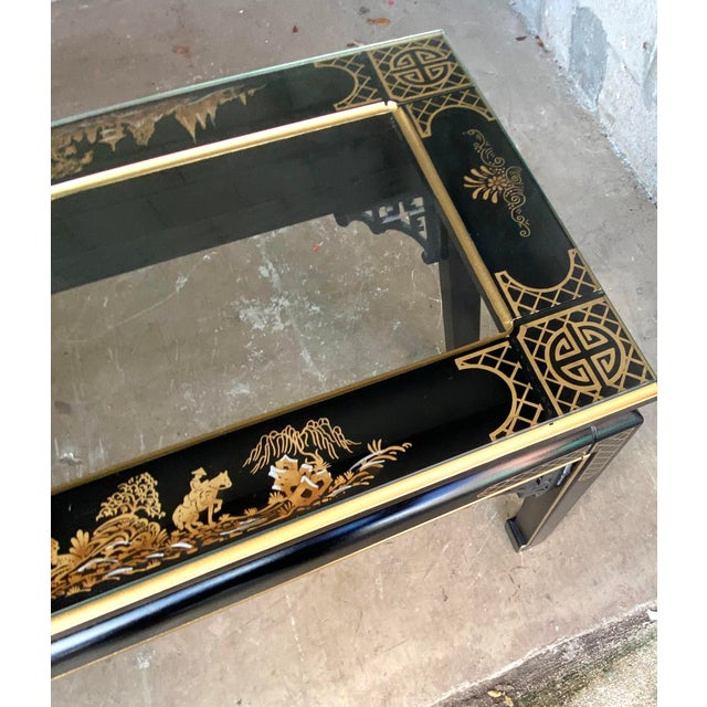 Gorgeous Chinoiserie fretwork glass top console table. The most beautiful hand painted Asian scenes. Fretwork details at...