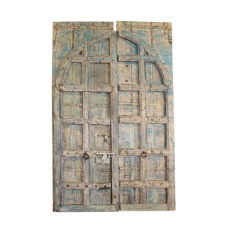 Antique Indian Distressed Blue Solid Teak Doors For Sale