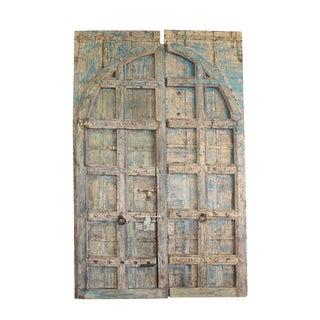 Antique Indian Distressed Blue Solid Teak Doors For Sale
