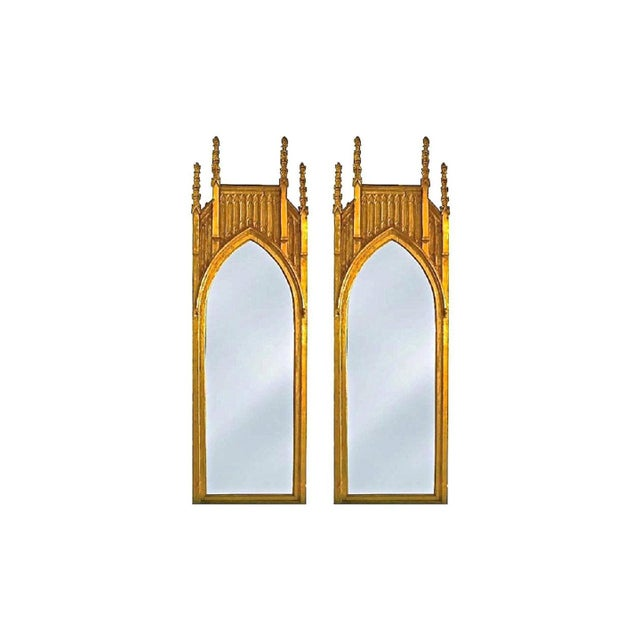 Wood Pair of Pugin Style Gothic Giltwood Mirrors ~9 Feet Tall For Sale - Image 7 of 7