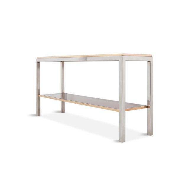 Contemporary Willy Rizzo Two-Tier Console Table in Chrome and Brass Linea Flaminia For Sale - Image 3 of 8