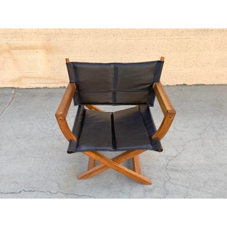 """1970s Modern Teak and Leather Folding Chair, """"Director's Style"""" Preview"""