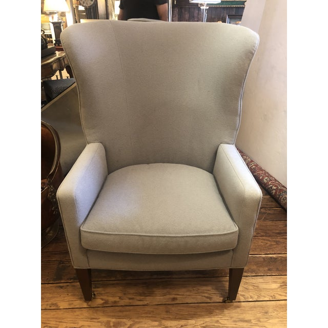 Flannel Upholstered Barrel Back Wing Chairs by Baker -A Pair For Sale - Image 9 of 13