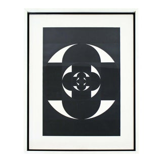 Contemporary Modern Framed Pop Op Art Black & White Abstract Gouache Signed For Sale