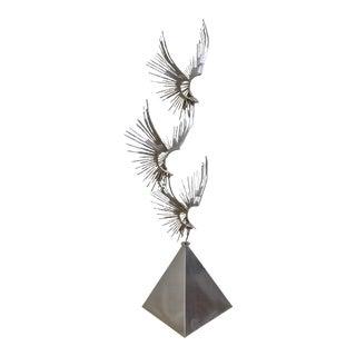 Curtis Jere Large Chromed Metal Birds in Flight Sculpture (A)
