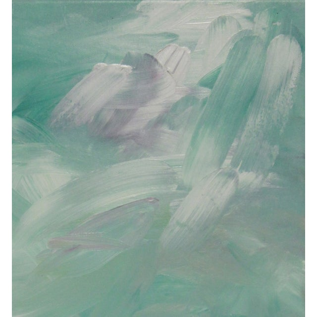 "Ethereal Abstract Turquoise painting. Acrylic. Initialed ""MC"" bottom right."