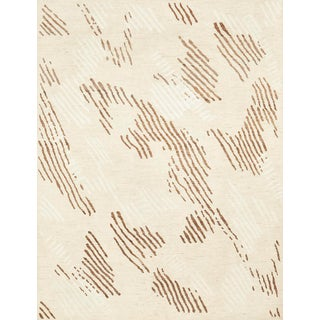 Schumacher Patterson Flynn Martin Kenai Hand Knotted Wool Silk Striped Rug For Sale