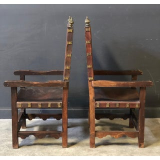 Pair of Antique Leather and Wood Spanish Revival Arm Chairs Preview