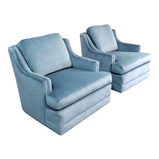 Fully Restored Vintage Velvet Swivel Chairs - a Pair For Sale