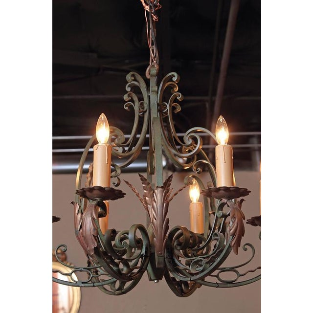 Early 20th Century French Six-Light Iron Chandelier With Verdigris Finish - Image 9 of 10