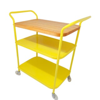 1960s Mid Century Modern Electric Yellow Metal Bar Cart/Cutting Board