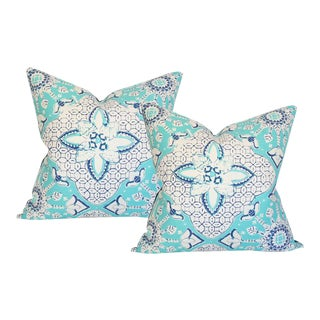 "Quadrille Batik Turquoise Pillow Covers - a Pair 22""Sq"
