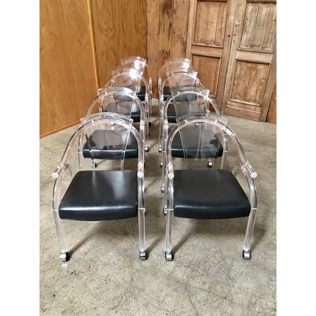 Modern Vintage Mid Century Sculptural Lucite Dining Chairs- Set of 8 For Sale - Image 3 of 13