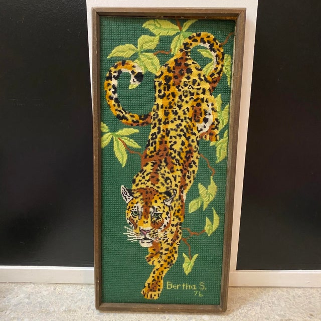 1970's Vintage Mid-Century Modern Cross Stitched Leopard Art For Sale - Image 10 of 10