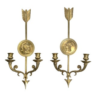 French Empire Style Double-Light Sconces - a Pair For Sale