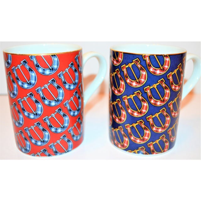 Gucci Vintage Gucci Porcelain Mugs - a Pair For Sale - Image 4 of 9