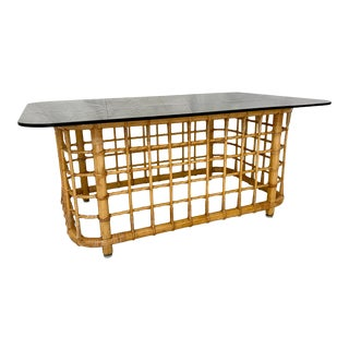 Vintage Pencil Reed Rattan Coffee Table With Smoked Glass Top For Sale