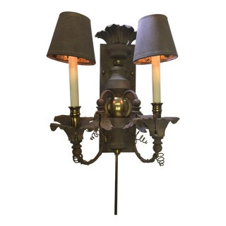 Chapman Double Textured Metal & Brass Candelabra With Shades