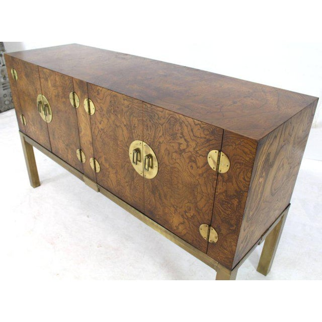 Brown Burl Wood and Solid Brass Hardware Compact Double Doors Credenza For Sale - Image 8 of 11
