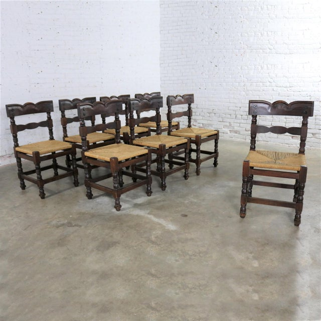 Country Spanish Colonial Style Dining Chairs With Rush Seats Stamped Hecho en Mexico For Sale - Image 3 of 13