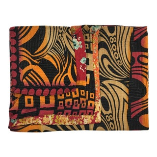 Sprightly Swirls Rug and Relic Kantha Quilt