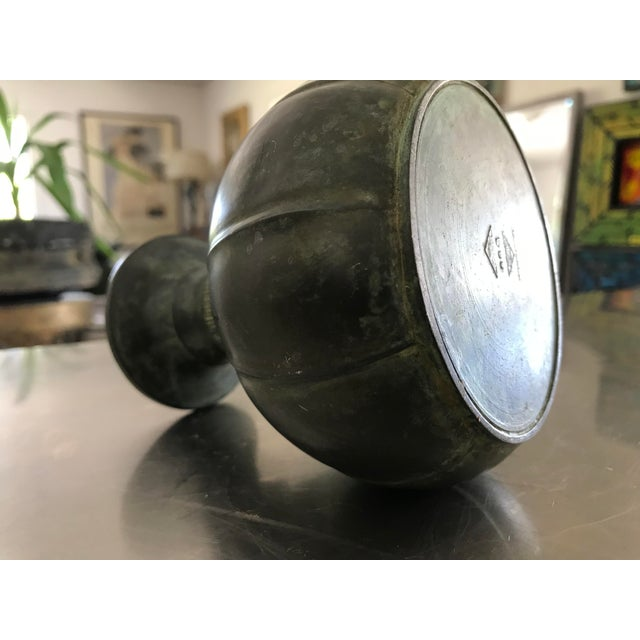 1930s Art Deco Just Andersen Danmark Heavy Metal Vase For Sale In Sacramento - Image 6 of 10