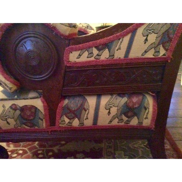 1800's Victorian Carved & Upholstered Armchair - Image 4 of 6