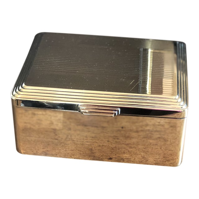 Engine Turned Art Deco Brass Box For Sale