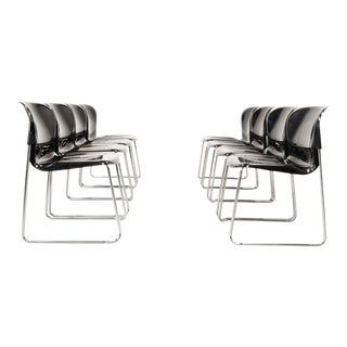 Set of Ten Mid-Century Design Black Stackable Dining Chairs by Gerd Lange for Drabert, Germany, 1980s For Sale