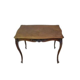 19th Century French Louis XV Carved Walnut Parquetry Center Table For Sale